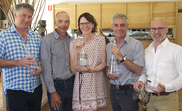 Trophy-winning winemakers Chris Smales (Blue Pyrenees), Allen and Andrew Hart (DogRock), Tom Guthrie (Grampians Estate) and Hamish Thomson (Best's Great Western).